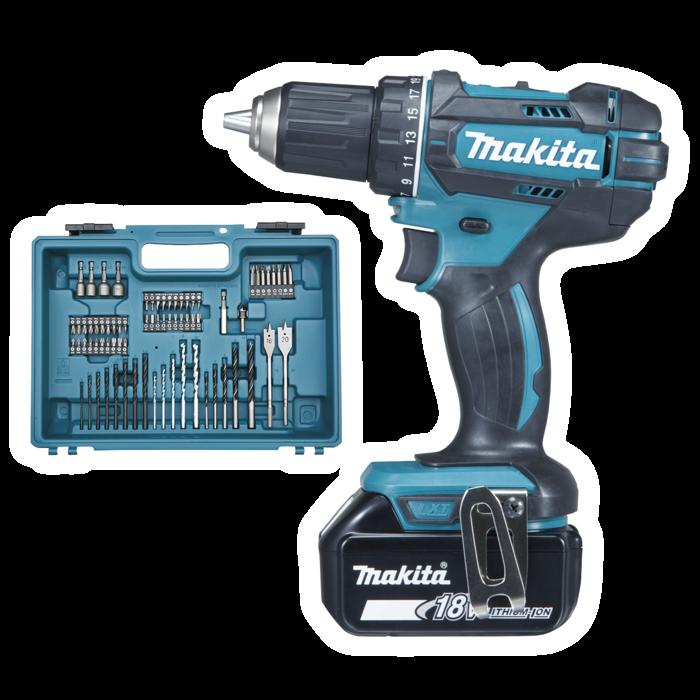 makita ddf482rfx1 akkus fúró-csavarbehajtó (lxt) 18v/2x3.0ah akkukkal, töltővel, bitkészletes kofferrel