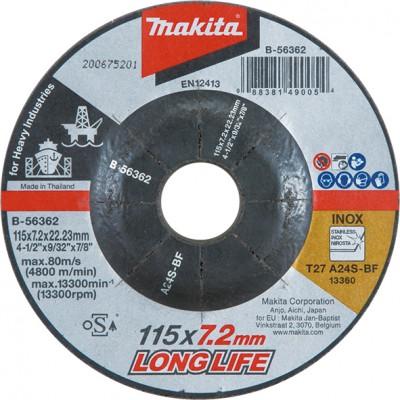 csiszolótárcsa inox 115x7,2mm a24s long life (makita b-56362)