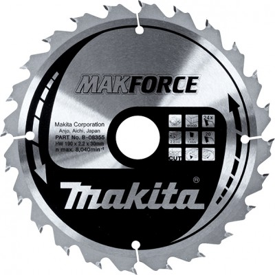 körfűrészlap makforce 190/30mm z24 (makita b-08355)